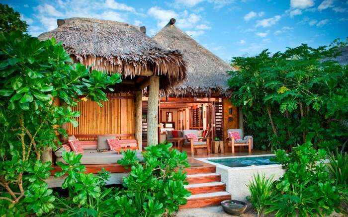 A beautiful old style Fijian hotel surrounded by trees