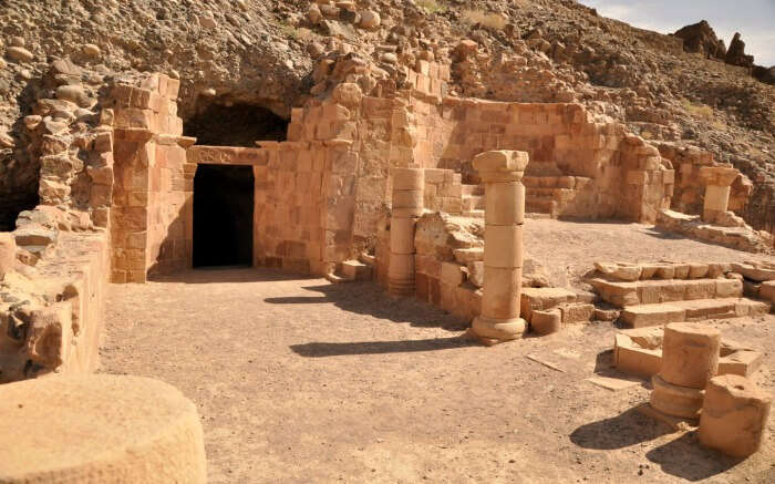 A beautiful view of Lot's Cave in Jordan on a sunny day