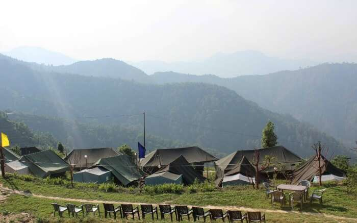 A glorious view of Kanatal Orchid Camps overlooking the vast mountains in Kanatal1