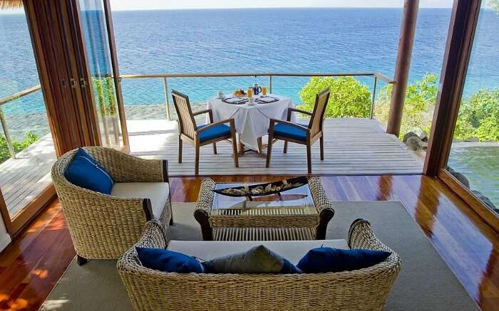 A gorgeous balcony overlooking beautiful sea