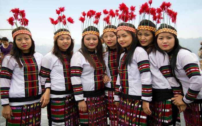 A group of Mizoram girls dressed in traditional attire