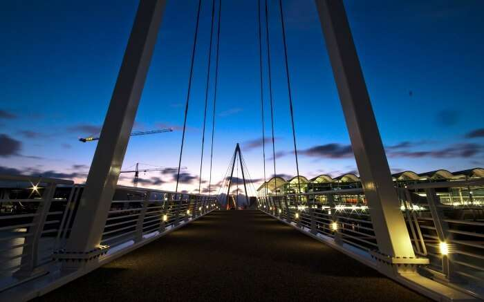 A night view of Viaduct bridge in New Zealand