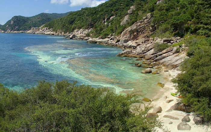 A rocky beach with turquoise water