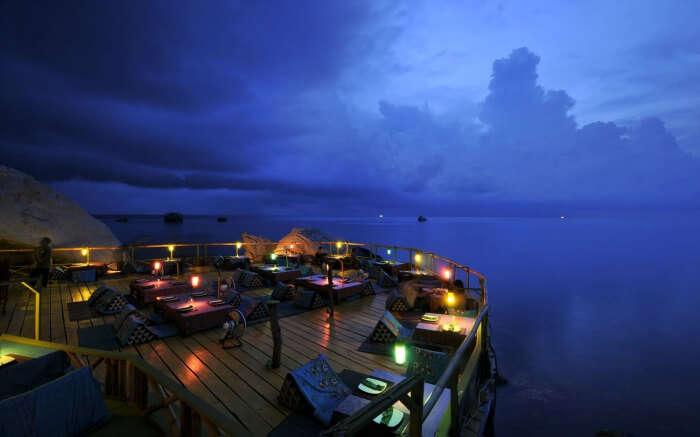 A romantic restaurant in a resort overlooking sea