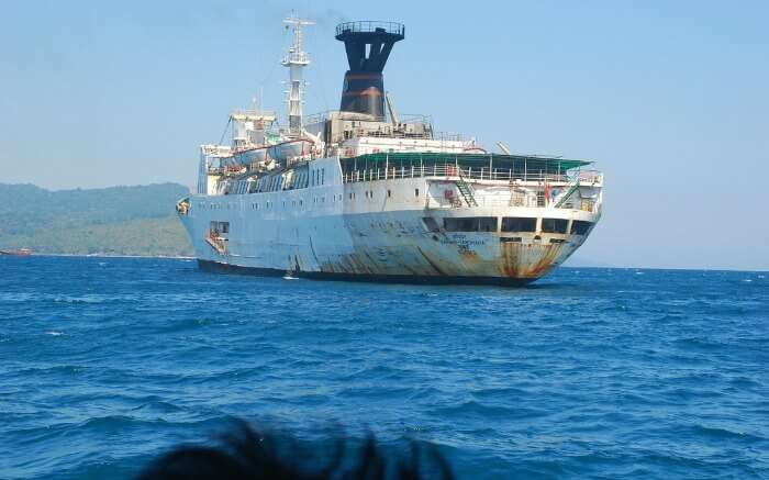 A view of MV Harshavardhana sailing in the Bay of Bengal