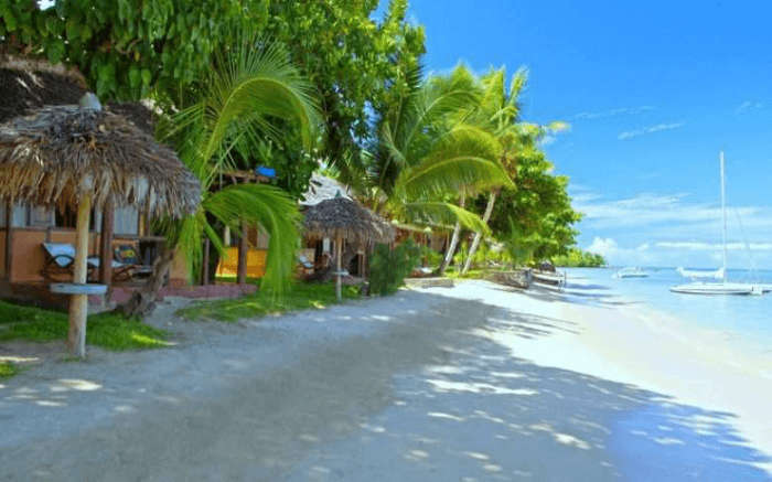 Beautiful thatched resorts by the seaside in Ile Sainte-Marie in Madagascar