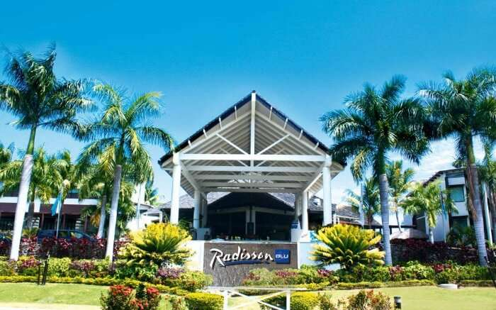 Entrance of Radisson Blu hotel in Fiji