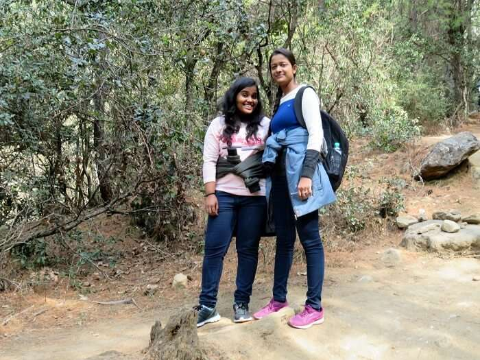 monali and friend trekking