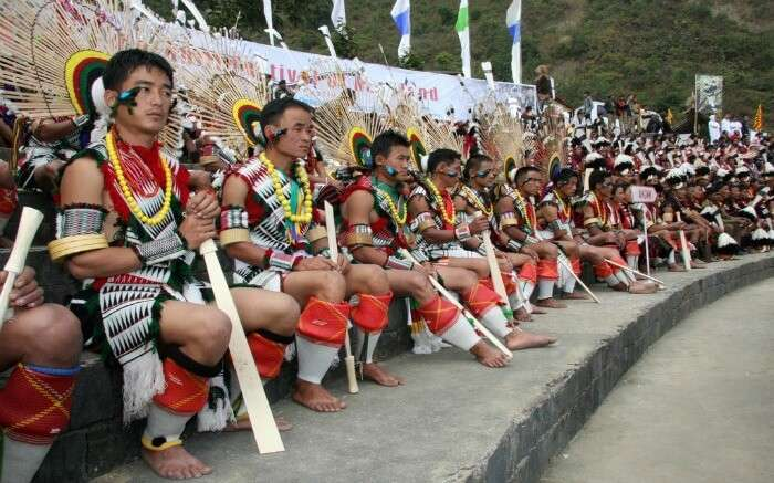 Men of Nagaland dressed in traditional tribal dresses for a festival
