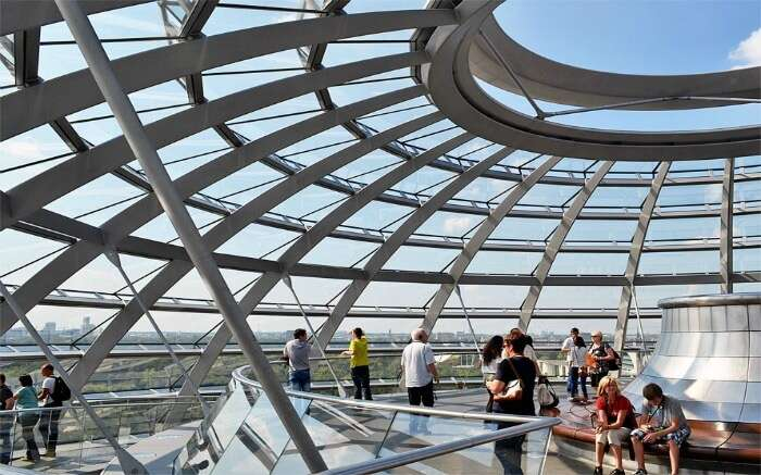 People enjoying the view of Berlin from the top of Reichstag