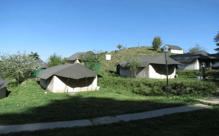 Swiss tents in Kanatal located on the hill slope