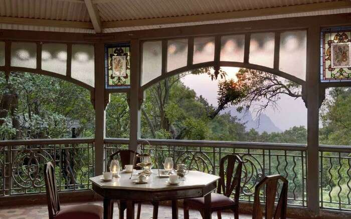 Tea served on a table at The Verandah In The Forest overlooking the sunset view