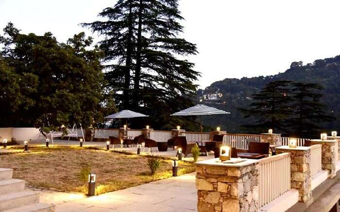 Terrace of a resort in Nainital