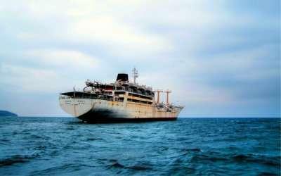 The beautiful view of MV Akbar sailing in the blue sea