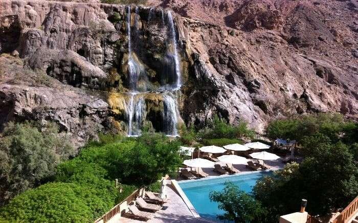 The free flowing water of Ma'in Hot Springs in Jordan