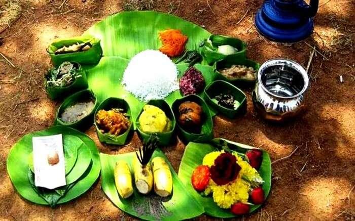 Traditional Manipuri food on banana leaves v