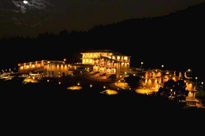 Well-lit villas of Glyngarth in Ooty at night