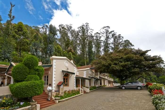 The front view of Danish villas in Ooty