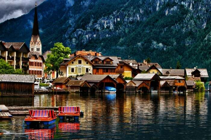 Hallstatt by the lake exhibiting all the vivid colors of nature