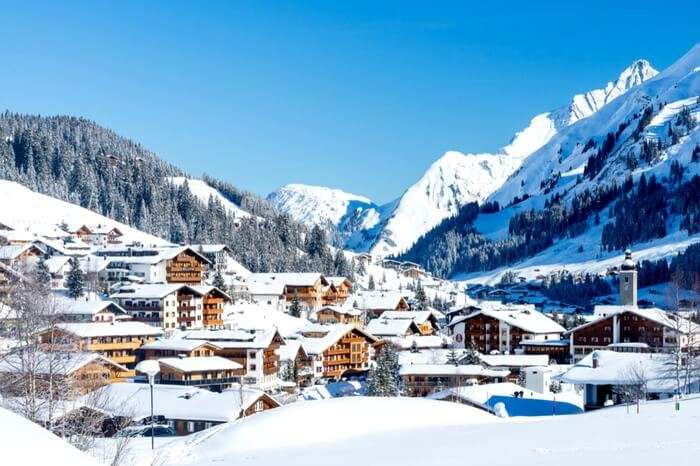 A picture-postcard village in Lech covered in snow
