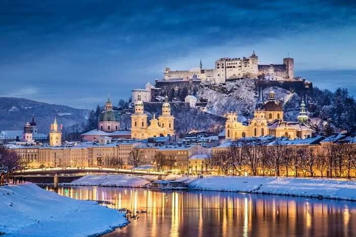 Salzburg with views of bridges and glittering stream