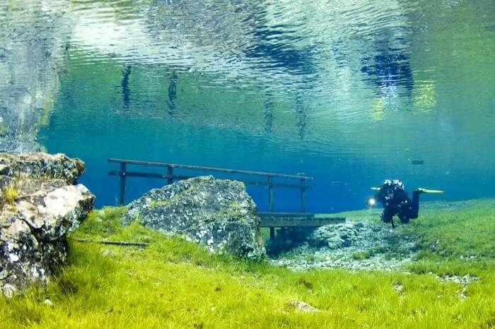 Scuba diver in a freshwater lake in Austria