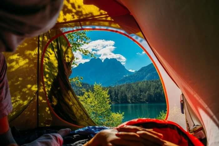 The wonder view of Austrian Alps from a tent!