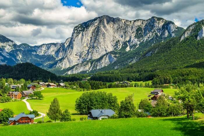 Alpine pasture around a quaint village in Altaussee