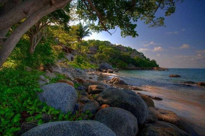 A jungle resort on the beach at Sayulita