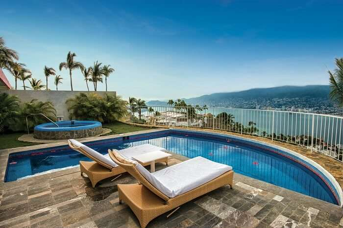 A shot of the private pool at the honeymoon suites of Las Brisas hotel at Acapulco with an ocean view