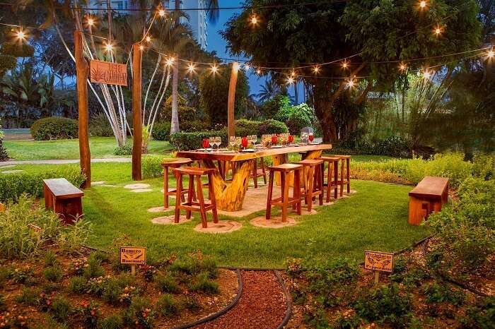 An evening snap of the Garden dining area at CasaMagna Marriott Resort and Spa at Puerto Vallarta in Mexico