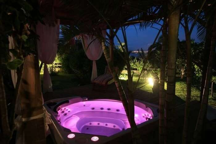 A beautiful couple spa in the jungle-type setting at Villa Maido in Reunion Island