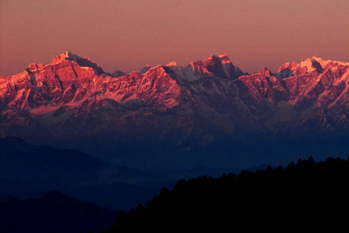 A sunset captured at Khirsu hill station in Uttarakhand