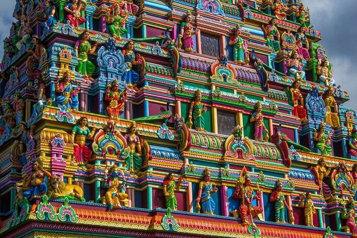 Colorful hindu temple at Reunion island