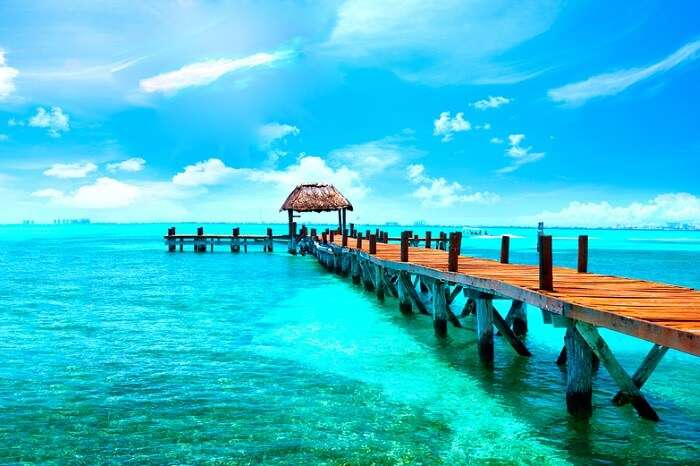 Caribbean sea Jetty near Cancun in Mexico