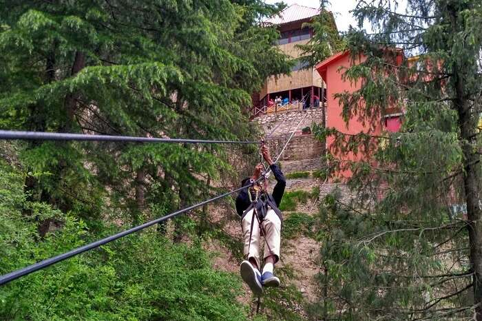 shish ziplining away in kufri