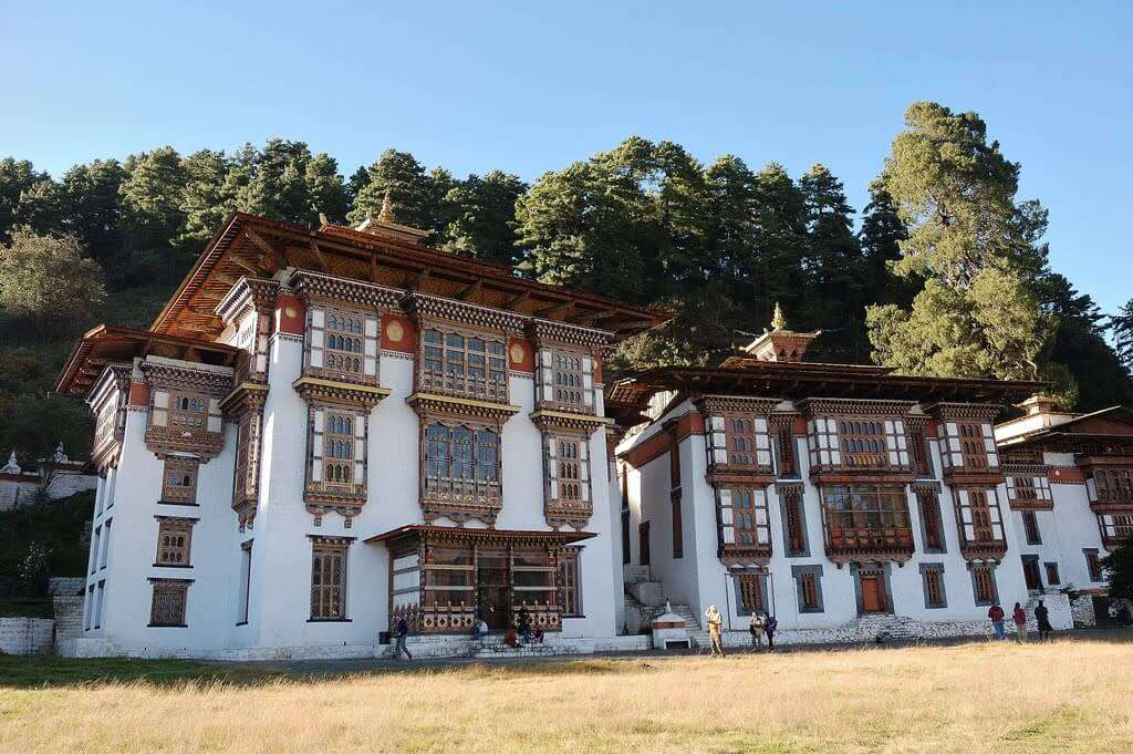 an ancient building of a monastery in Bhutan
