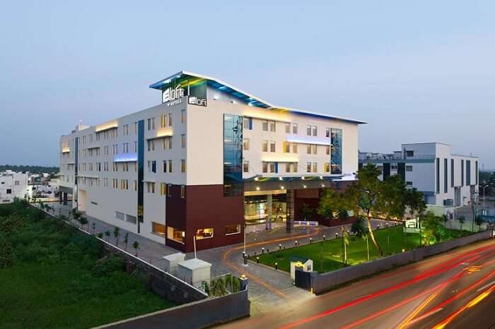 A shot of the exteriors of Aloft Coimbatore Singanallur hotel