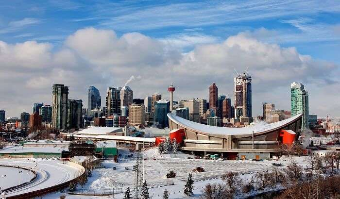 Downtown calgary during winter