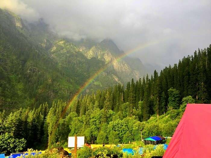 rainbow seen in kheerganga