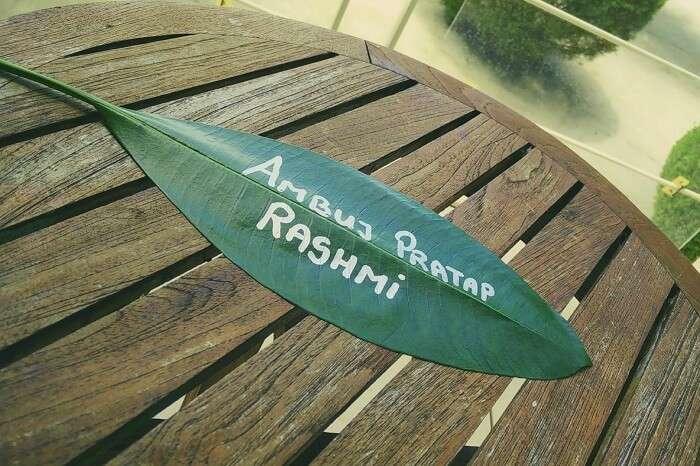 ambuj rashmi name on leaf maldives