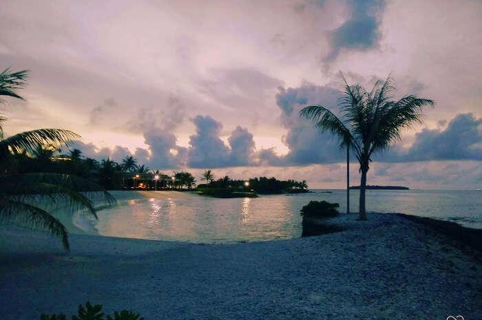 sunset views from beach maldives