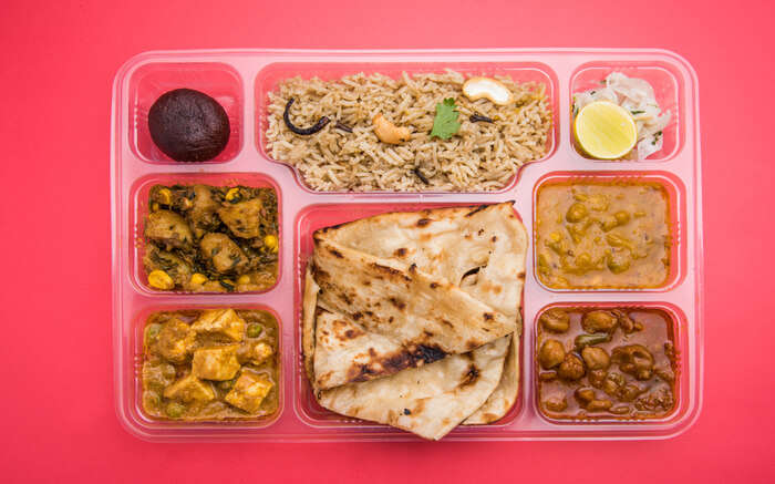 Indian Thali Pink Background