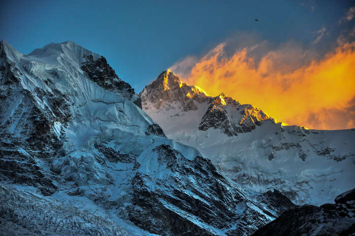 Sunset behind the snowclad mountains