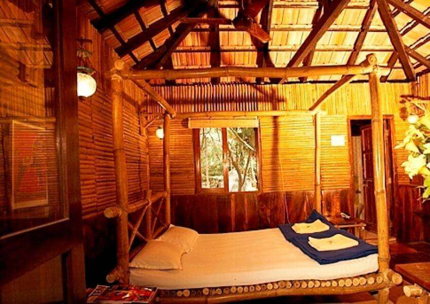 a bamboo made hut in a resort