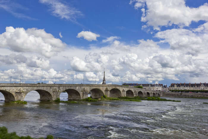 A bridge in the Bloise city on the river Loire in France