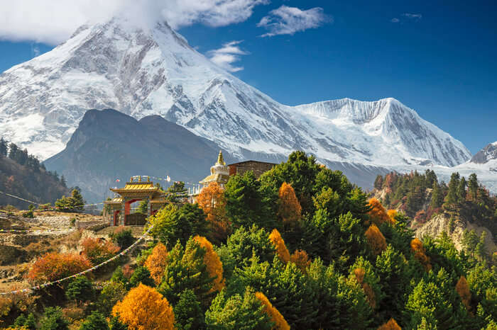 Manaslu hill covered in snow