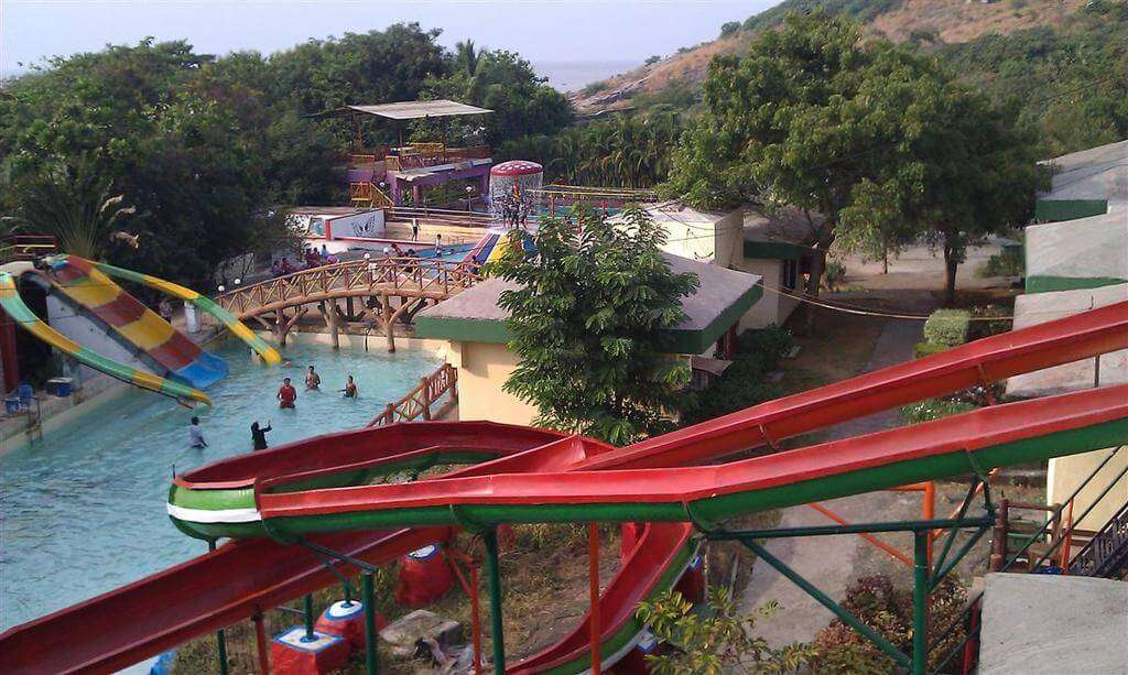 a red color water swing in a resort