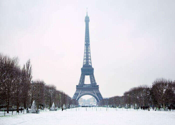 Snow-covered Paris