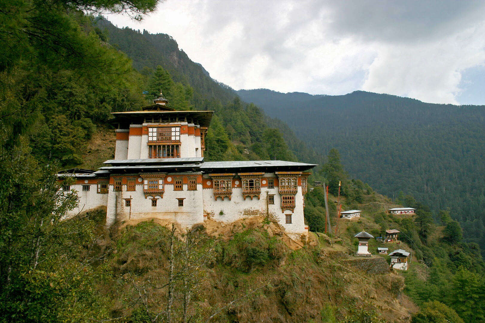 a monastery in the green mountains of Paro